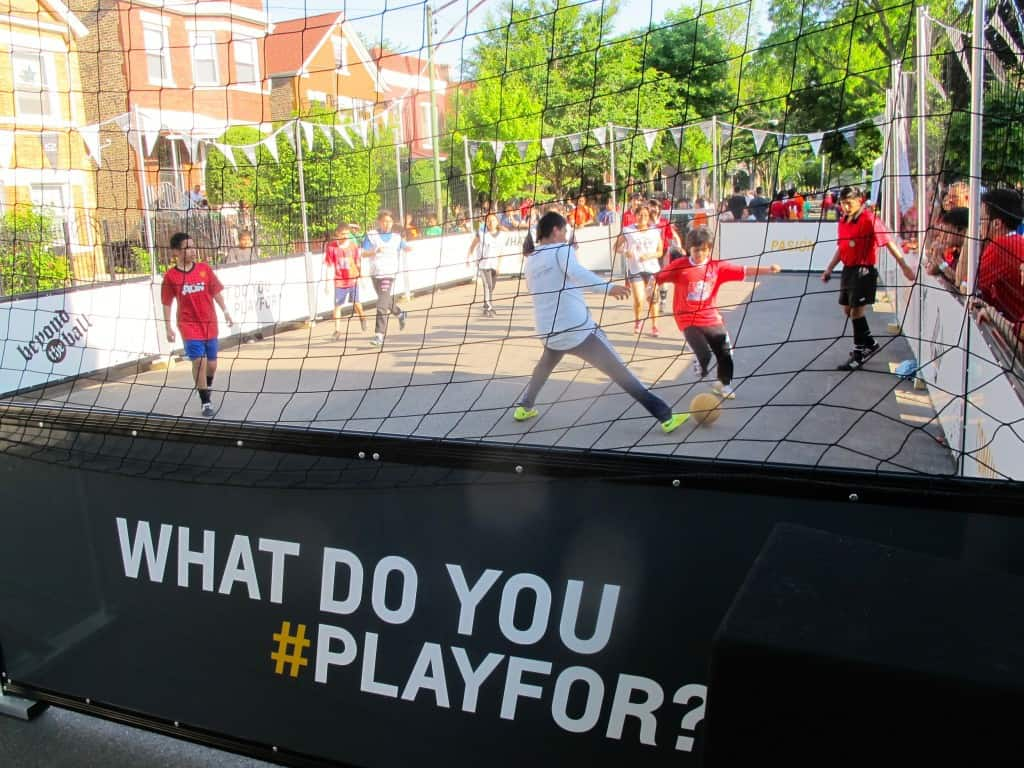 Beyond the Ball in Chicago have a great new portable field to hold events thanks to 'What Do You Playfor?'
