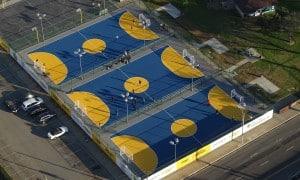 Aerial of the new futsal fields in Memorial Park in Hawthorne